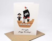 Birthday Card Boy - Pirates on a Pirate Ship - HBC244 / Aarrgghh, Happy Birthday for the Birthday Boy