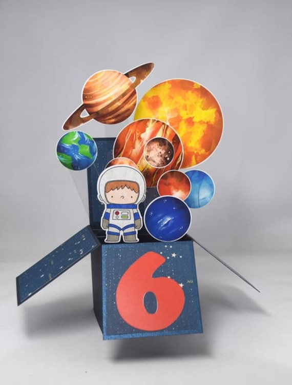 3d Age Space Birthday Card Box Card With Astronaut And Planets By A