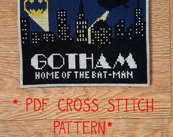 Gotham City travel postcard cross stitch pattern