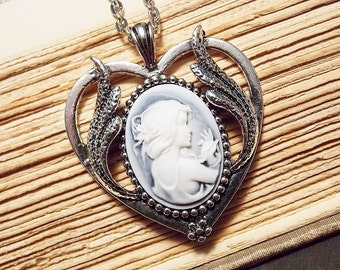 Blue and Silver Cameo Necklace
