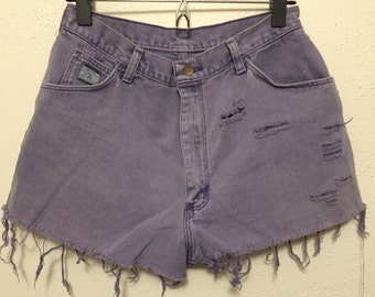 "VINTAGE 1990's High Rise WRANGLER Purple Wash Distressed Denim SHORTS 29"" Waist"