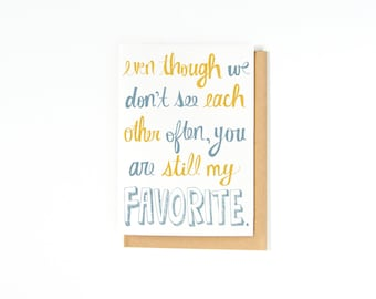 Long Distance Relationship Card - I Miss You Card - Best Friend Card - Just Because Card - Recycled Paper - Made in the USA