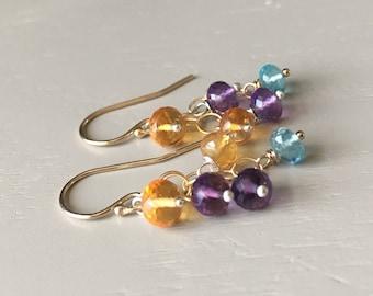 Gemstone Brights Earrings // Amethyst Citrine Earrings // Mixed Gemstone Jewelry // Bohemian Luxe Jewelry // Refined Bohemian Jewelry