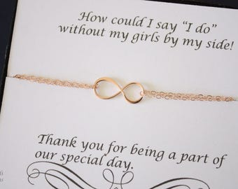 6 Infinity Bridesmaid Bracelets Rose Gold, Tie the Knot, Bridesmaid Gift, Rose Gold Charm, Charm Bracelet, Pink Gold, Thank you card