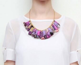 Natural leather tassel necklace-statement necklace-genuine tassels - fun necklace-fashion accessories-purple violet black metal / BOUQUET 68