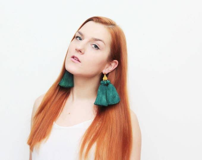 MAGICAL 3 / Tassel earrings-oversized earrings-silk tassels-metal statement earrings-green earrings-ethnical tribal earrings-Ready to Ship