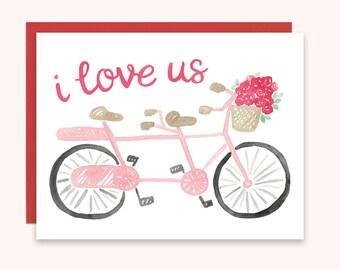 Bicycle Valentine Card, I Love Us Card, Bike Valentine's Day Card, I Love Us Valentine's Card, Bicycle Built for Two Card, Tandem Bike Card