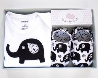 Elephant Baby Girl Onesie with Baby Shoes, Onesie Size- 3 mos, Shoe Size: 0-6 mos, Baby Girl One Piece, Gift for Baby Girl, Ready to Ship