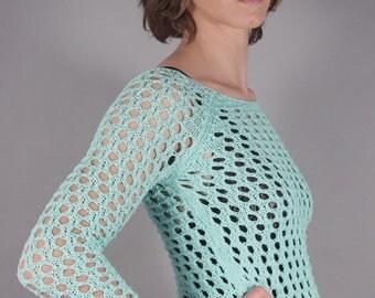 90s Sea Foam Green Mesh Crochet Top