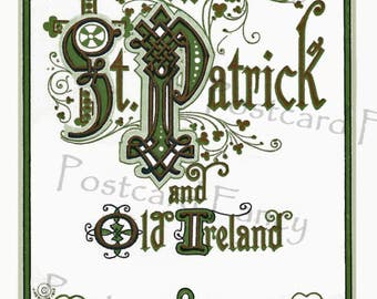 Art Nouveau St Patrick's Day Vintage Postcard, Instant DIGITAL Download, Celebrate Old Ireland