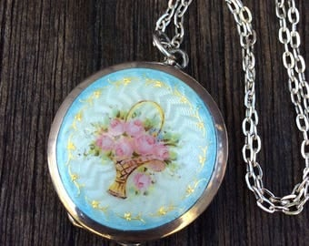 Exquisite Antique Sterling Silver Guilloche Enamel Locket Necklace, Basket of Pink Roses, Turquoise Blue Enamel