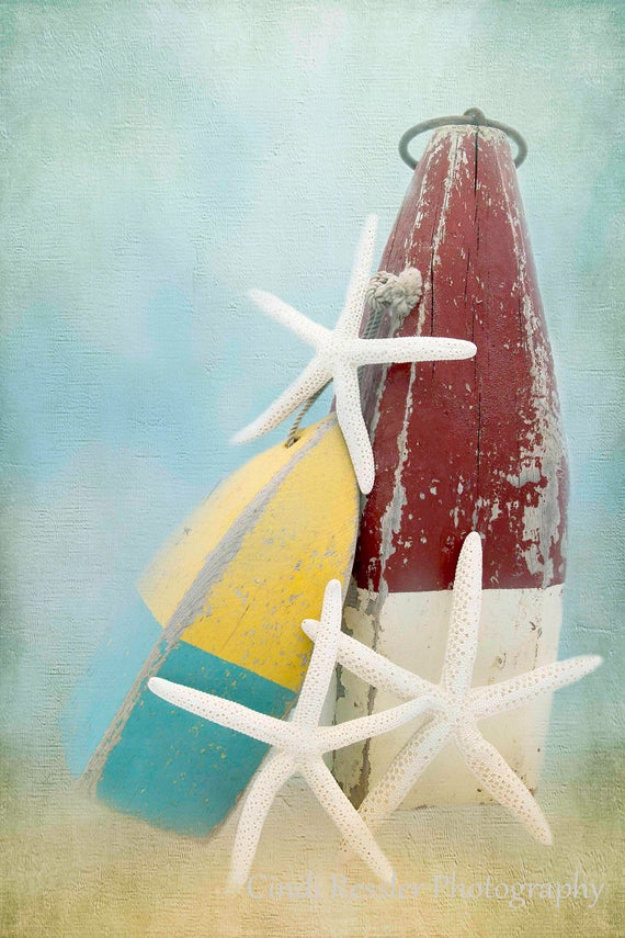 Buoys and Starfish, Nautical, Beach Photography, Ocean, Seashore, Cottage Decor, Photography, Still Life Photography, Fine Art Photography