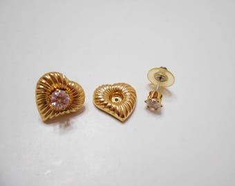 Gorgeous Vintage Rhinestone Hearts Pierced Earrings (2538) 2-in-1