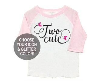 Second Birthday 'Two Cute' Poly Cotton 3/4 Raglan Light Pink Sleeve Baseball Shirt - Kid's Toddler Shirt