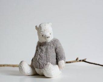 Made To Order Christmas Gift For Her White Teddy Bear Handmade Knitted Gray Sweater Mohair Stuffed Animal Plush Toy 9 Inches
