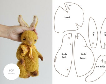 Stuffed Animal PDF Sewing Pattern For Women Digital Download Instant Download Step By Step Tutorial Rabbit Making Easter Bunny Toy 9 inches