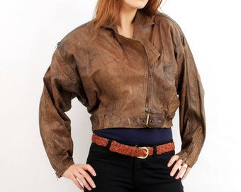 Brown cropped jacket   Etsy