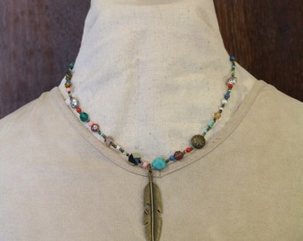 Free Shipping on Multi Stone Feather Necklace