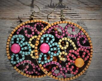 Large Floral Disk Earrings