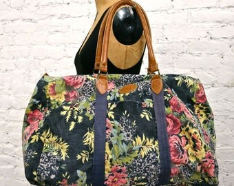 80s Canvas Weekend Overnight  Bag - Floral Pattern