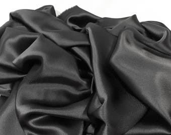 Charcoal Colored Crepe Triacetate, Dark Gray Fabric, Dark Gray Material, Crepe Triacetate, Shiny Material, Remnant Fabric, Flowy Fabric