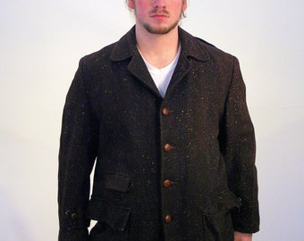 40s 50s Penny's Wool Flecked Coat, Vintage Penny's Car Coat, 1940s Coat, 1950s Coat, 50s Car Coat, Vintage Coat, Midcentury Coat, L