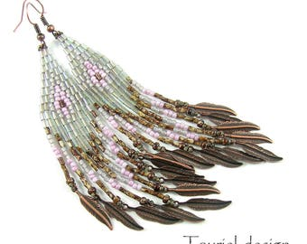 Native American inspired beaded long earrings - dangle earrings - beadwork jewelry - beadwork earrings - Ice and Rose - brown rose ice grey