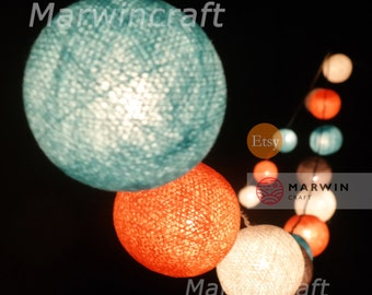 20 Cotton Balls Dream Blue-Orange Tone Fairy String Lights Party Patio Wedding Floor Table or Hanging Gift Home Decor Christmas Bedroom