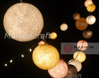20 Cotton Balls Soft Pastel Tone Fairy String Lights Party Patio Wedding Floor Table or Hanging Wall Gift Home Decor Living Bedroom Holiday