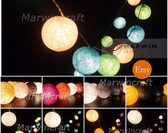 34 Colour Options of 20 Cotton Balls Fairy String Lights Party Patio Wedding Floor Table or Hanging Gift Home Decor Living Bedroom Holiday
