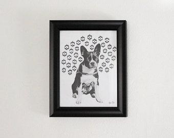 "Original Art ""Doggo"" - 8x10 Framed Painting"