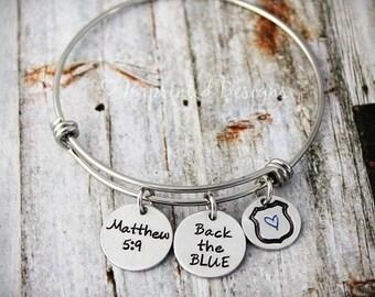 Personalized Bracelet - Charm Bracelet - Police Badge - Bangle - Back The Blue - Matthew 5:9 - Thin Blue Line - Blue Lives Matter