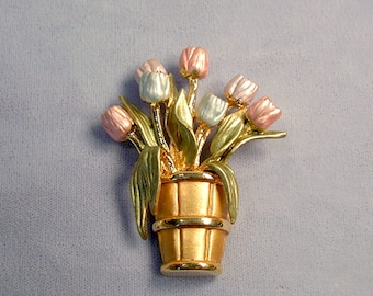 Basket Of Tulips Vintage Brooch ~ Easter Basket ~ May Day Flowers ~ Mother's Day Bouquet - Pastel Enamel Flowers Pin from the 1980's