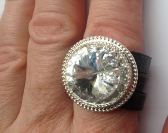 Swarovski Crystal Ring, Leather Band Ring, Bling Ring, Sparkle Ring, Sale
