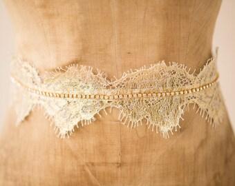 Wedding Belt Bridal Sash, Gold Romantic French Chantilly Scallop Lace Crystal Hand-Beaded Chain Bohemian Design, Camilla Christine ISABELLA