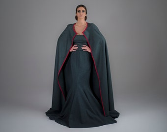 TakeOff - loden wool and sand wached silk, cape, one of a kind, haute couture