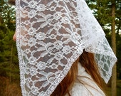 White Lace Triangle Veil for Adults, PO#ZW04