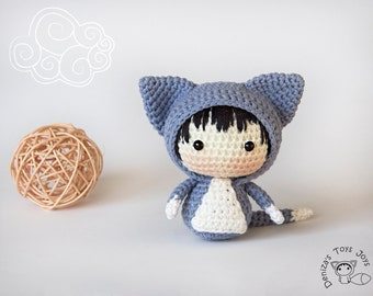 Kitten Doll. - pdf crochet pattern. Tanoshi series toy.