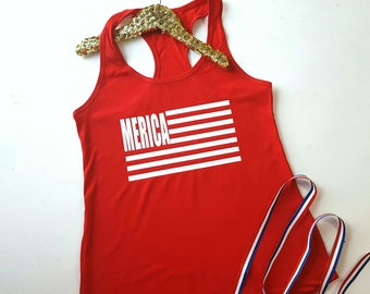 4th of July Shirt Women - Merica Tank - Red White Blue Racerback Tank Top - Fourth of July Top - Independence Day - Patriotic American Flag