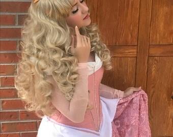 Sleeping Beauty Aurora Parks Long Curl Golden Wig