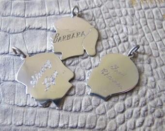 Vintage Sterling Silver Silhouette Child Charm Pendant Keepsake.As Shown.GIRL or Boy Charm 1 ONLY.Barbara or Glen HEAD Cutout Children Charm