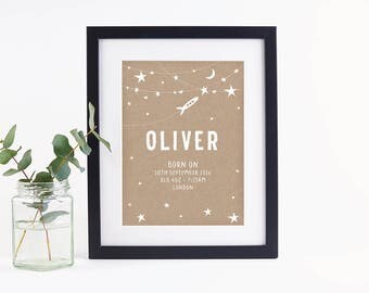Personalised Baby Print Space Kraft