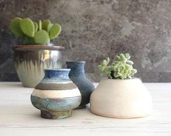 Set of 3 Vintage Studio Pottery Vases