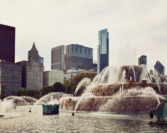 Chicago panoramic, large Chicago photograph, Buckingham Fountain, Illinois, landscape, Chicago photography