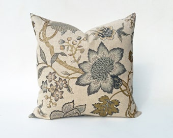 Floral Pillow Cover Natural, Metallic, Gold, Gray, Blue-Green