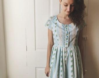 50s Dress Vintage Inspired Handmade Blue Floral