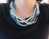 Multi Strand Necklace, Twisted Pearl Necklace, Statement Braided Necklace, Navy Blue Pearl Necklace, Chunky Necklace, Blue and Green Pearls
