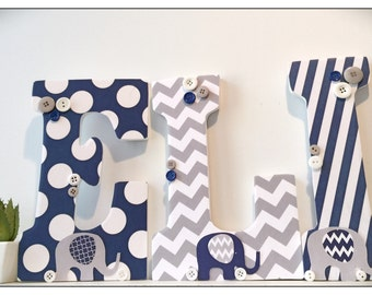 Navy and Gray Elephant Nursery. Grey. Wood Letters. Baby Boy. Nursery decor. Name letters. Chevron. Nursery Ideas. Baby.