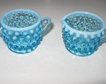 hobnail blue glass, sugar creamer set, fenton opalescent sky blue