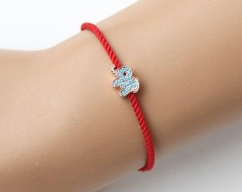 Elephant bracelet, turquoise elephant bracelet, red string bracelet, gift for her, best friend gift, birthday gift, adjustable bracelet